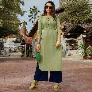 Designer Casual Wear Green Color Kurti