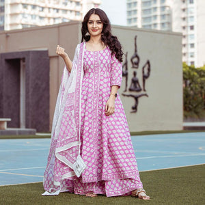 Pink Color Glamorous Suit With Dupatta