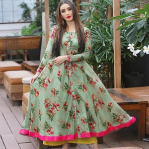 Party Wear Designer Printed Green Color Dress