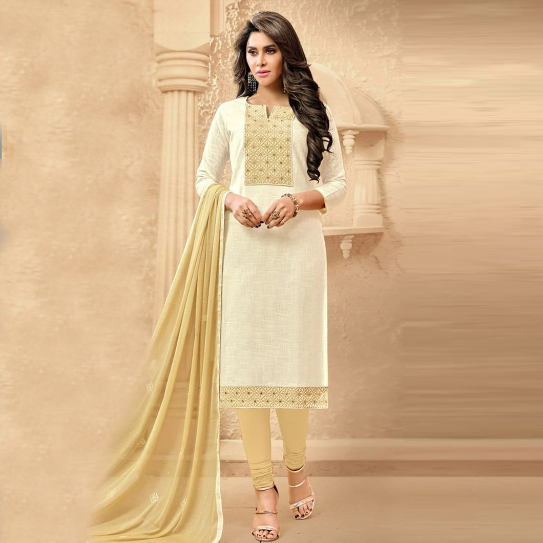 Glorious Cream Color Suit With Dupatta