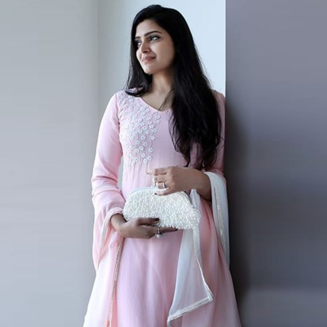 Baby Pink Color Stylish Suit With Dupatta