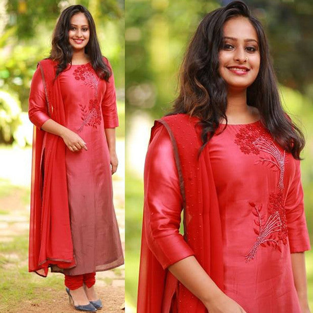 Red Color Gorgeous Embroidary Worked Suit