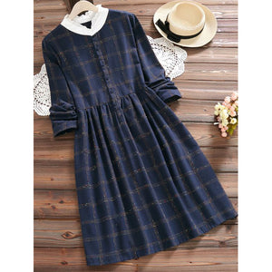 Western Navy Blue Checks Dress