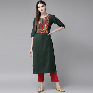 Bottle Green Worked Straight Kurti