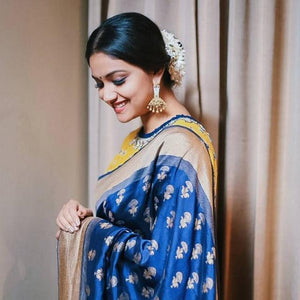 Saree online - Royal Blue Color Celebrity Style Printed Saree