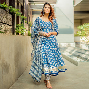 Beautiful Blue Color Printed Suit with Dupatta