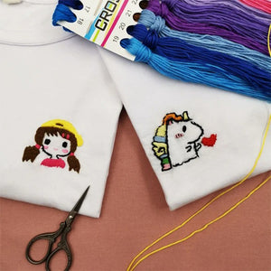 DIY Hand Embroidered T-shirt Material Kit Gift
