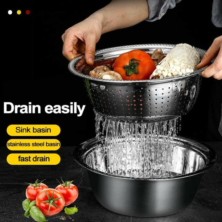 GRATER+DRAIN TRAY+STAINLESS STEEL BASIN