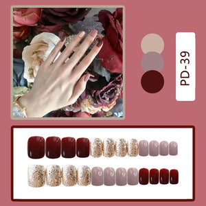 24pcs Hit Color False Nails Cute Summer Style