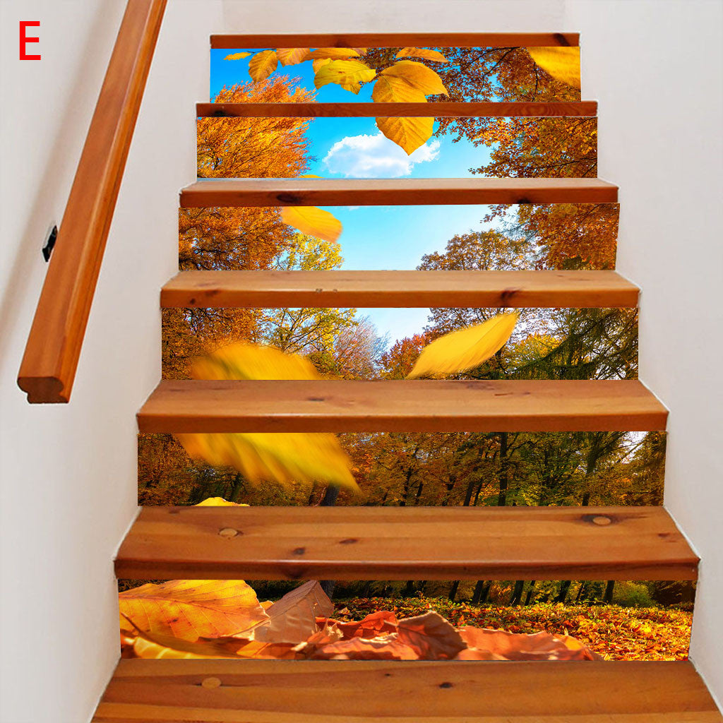 6pcs/13pcs 3D Colored Waterfall Stair Risers Sticker