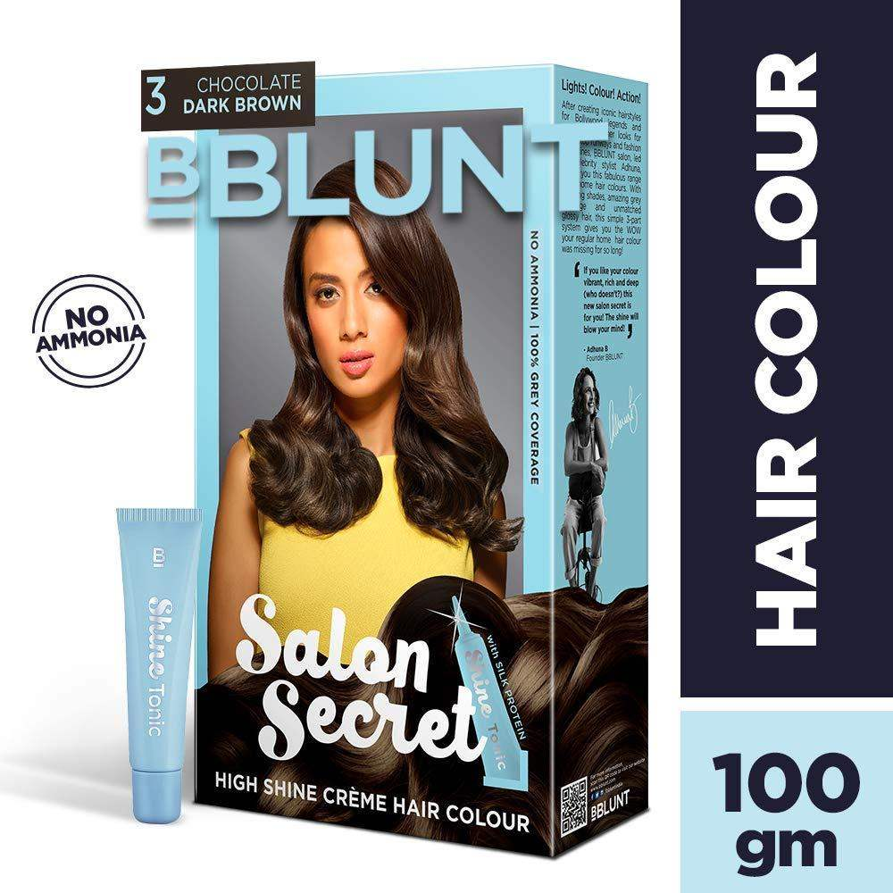 BBLUNT Salon Secret High Shine Creme Hair Colour, Chocolate Dark Brown 100g - ClickUrKart
