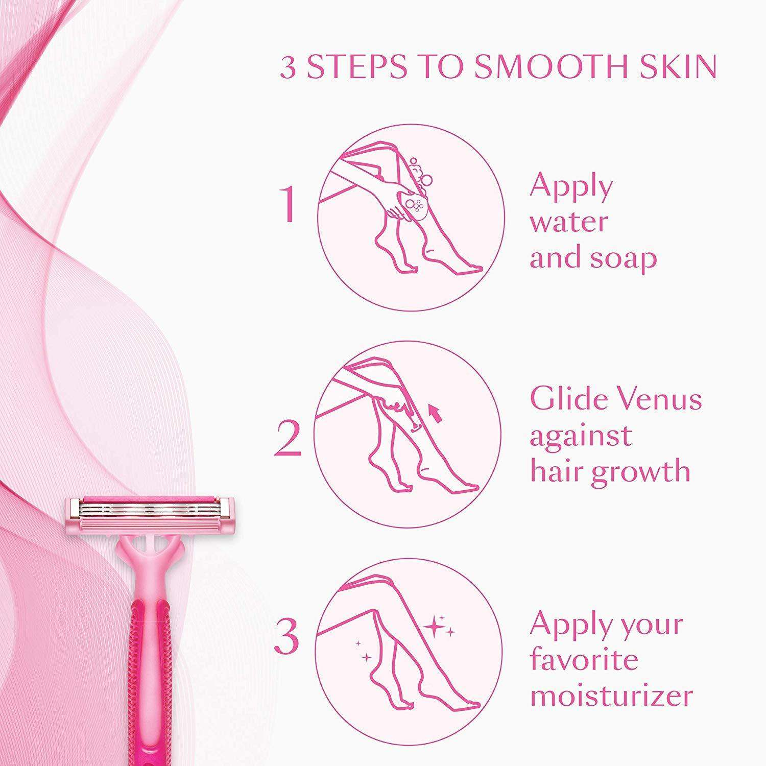 Gillette Venus Simply - Hair Removal Razor For Women, 3 Blades, 1 pc - ClickUrKart