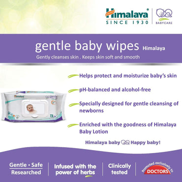 Himalaya Baby Wipes - Gentle Baby, 72 pcs Pouch