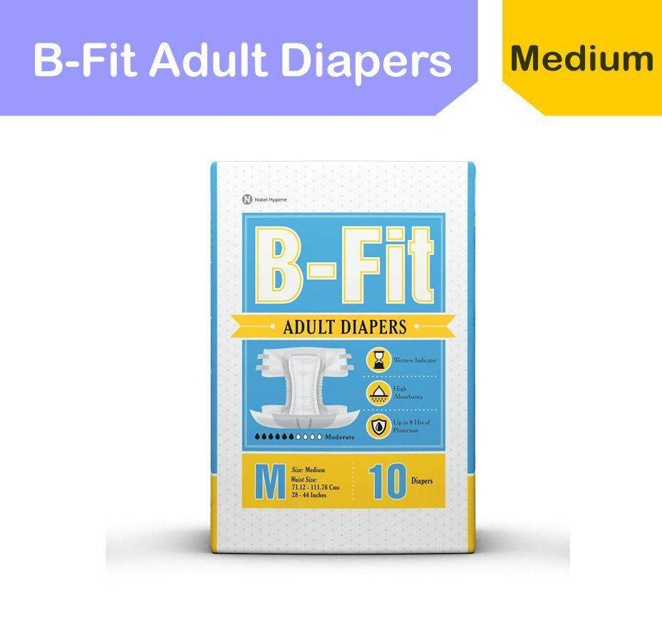 Be Fit Adult Diapers (Medium/28-44-Inch) -10 Pieces - ClickUrKart