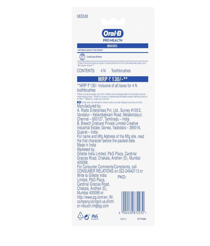 Oral-B Tooth Brush Pro Health Neem, Combo Buy 2 & Get 2 Free