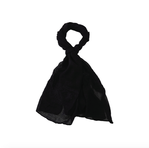 Scarf - Black Embroidered