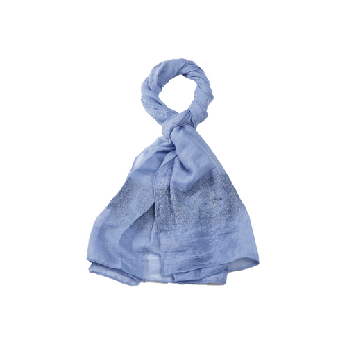 Scarf - Blue Embroidered