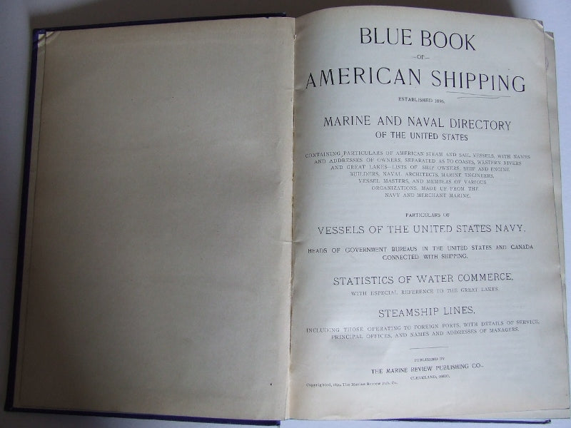 Blue Book of American Shipping.....Marine and Naval Directory of the United States - 1899
