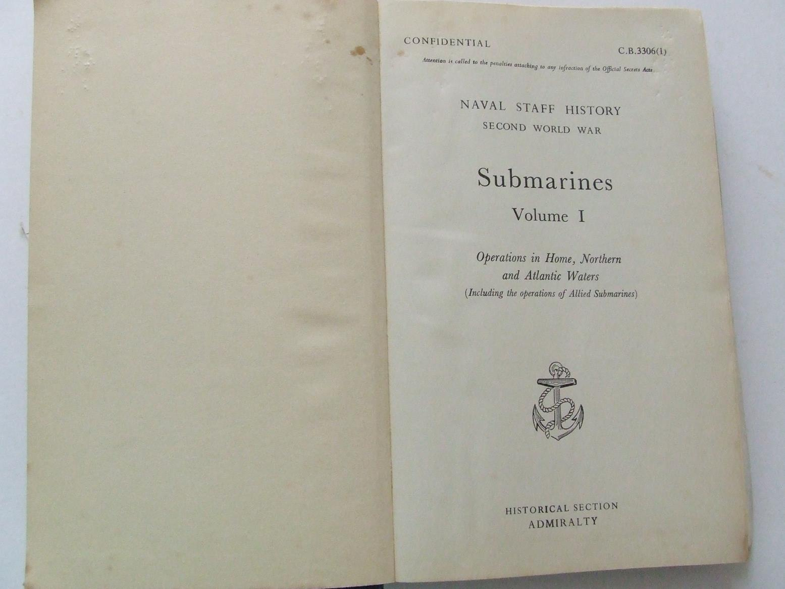 Naval Staff History, Second World War - Submarines