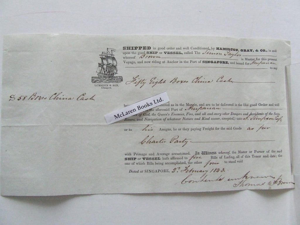 19th century bill of lading for a cargo bound for Ampanan from Singapore