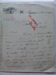 1894 manuscript letter from David Cairns, ship owner of Leith