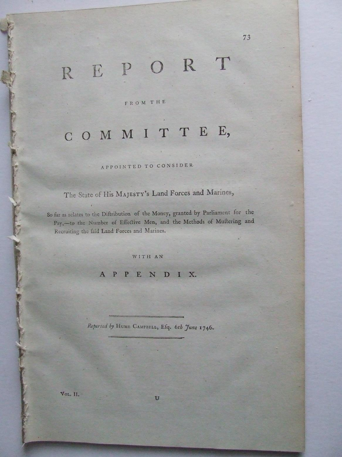 Report from the Committee, appointed to consider the state of His Majesty's Land Forces and Marines