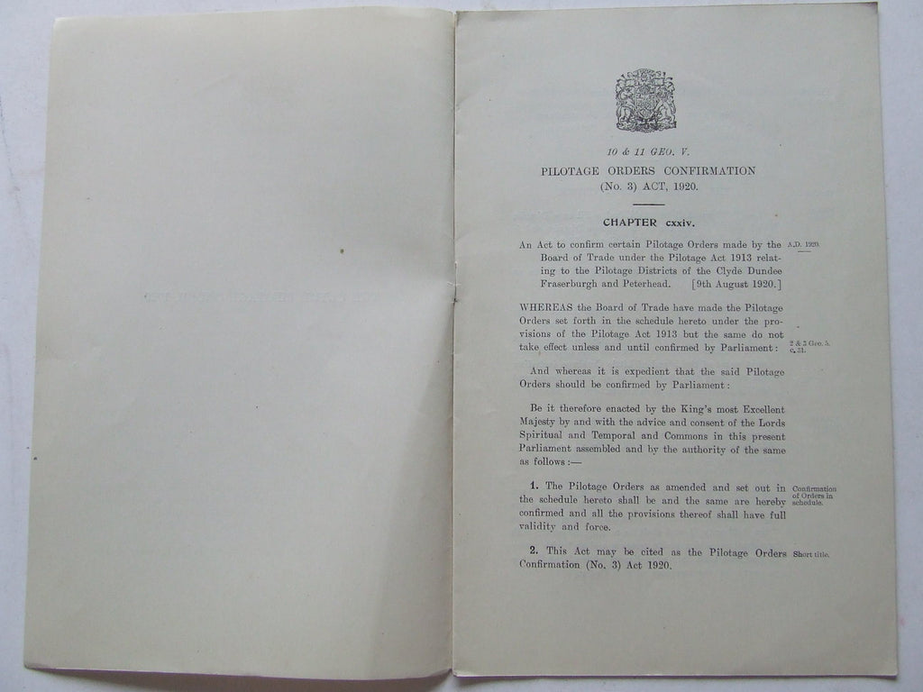 Pilotage Orders Confirmation (no.3) Act, 1920