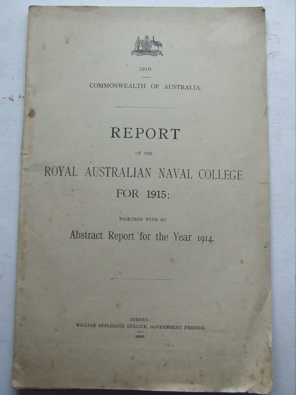 Report of the Royal Australian Naval College for 1915