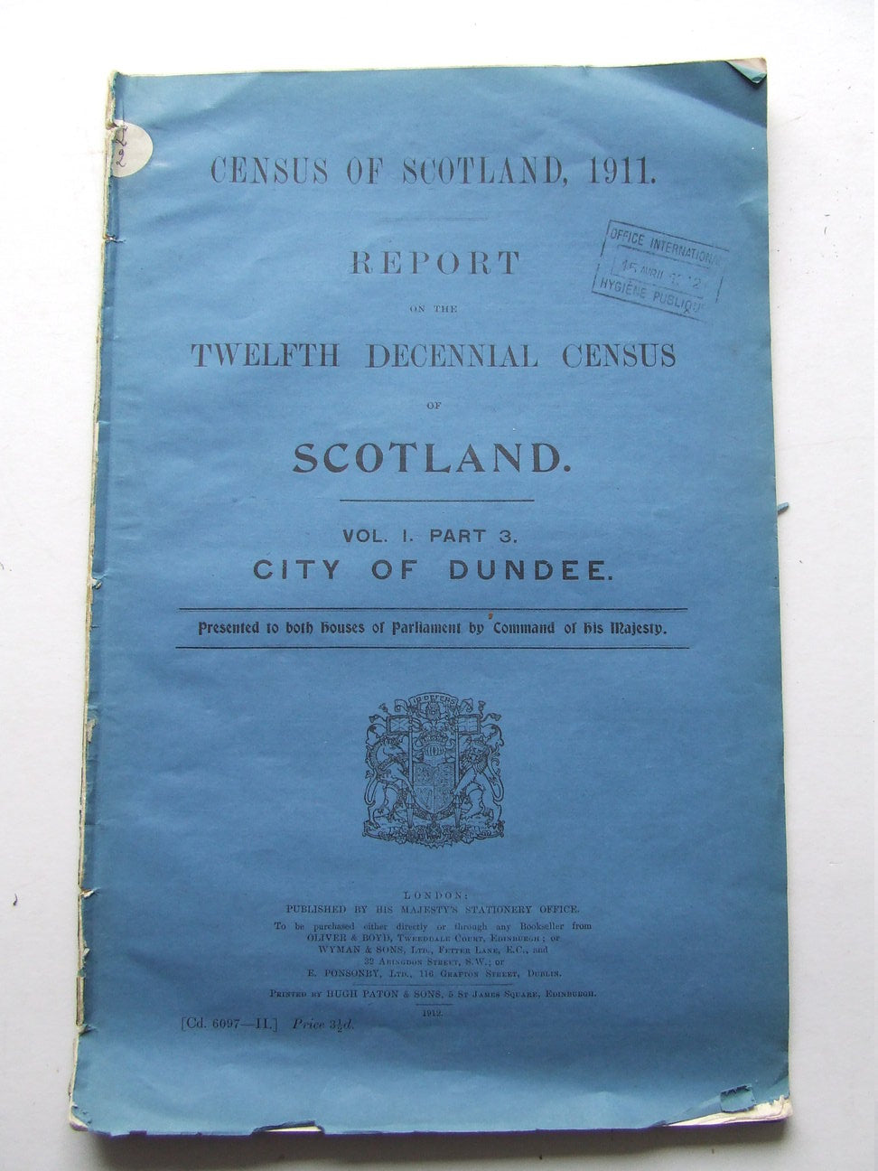 Report on the Twelfth Decennial Census of Scotland [1911].....City of Dundee