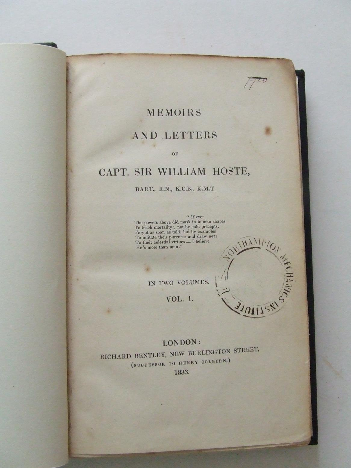 Memoirs and Letters of Capt. Sir William Hoste