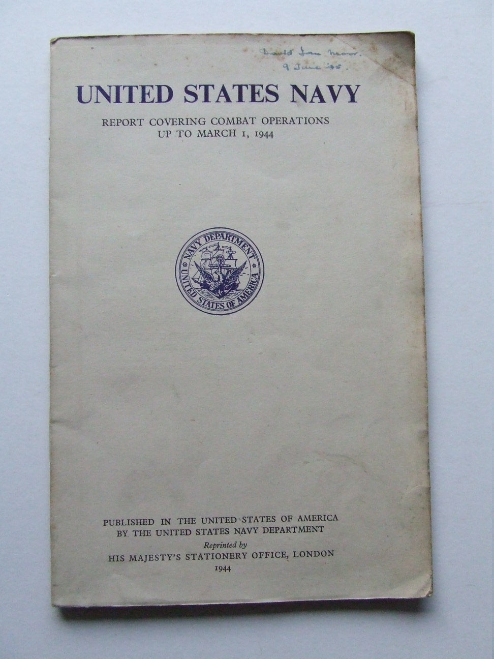 Report to the Secretary of the United States Navy, by Admiral Ernest J. King