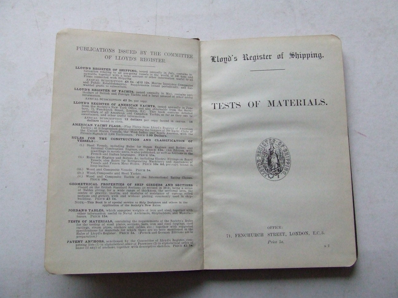 Lloyd's Register of Shipping - Tests of Materials