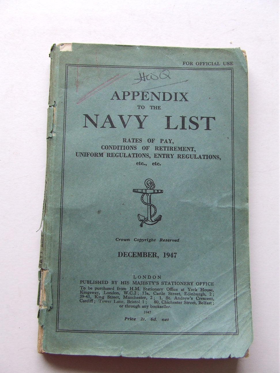 Appendix to the Navy List, December 1947