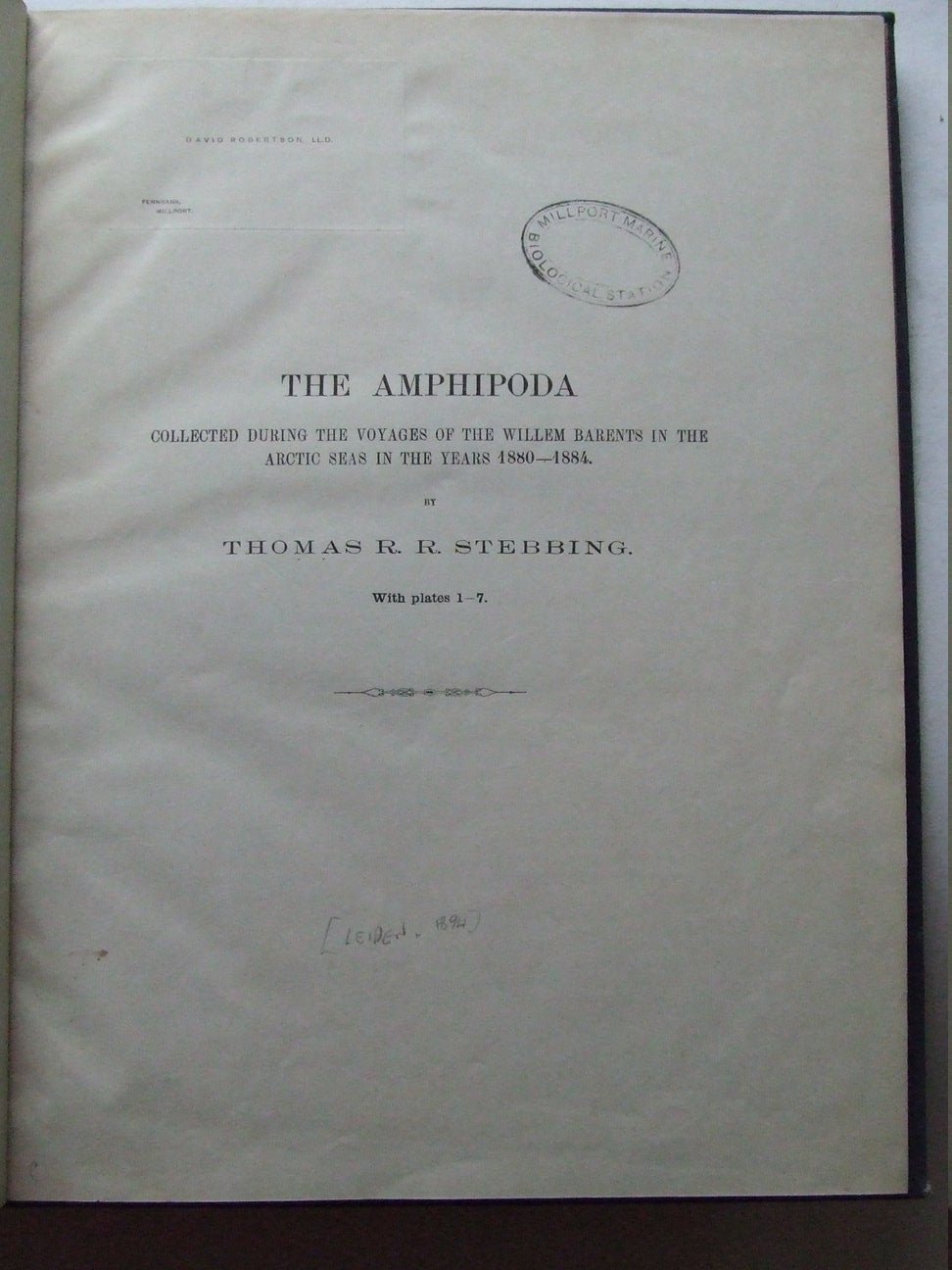 The Amphipoda collected during the voyages of the Willem Barents in the Arctic Seas in the years 1880-1884