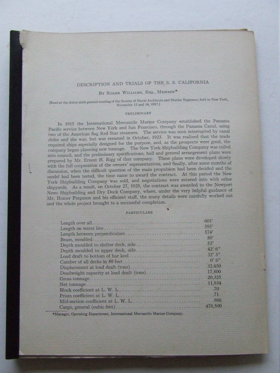 Description and Trials of the s.s. California