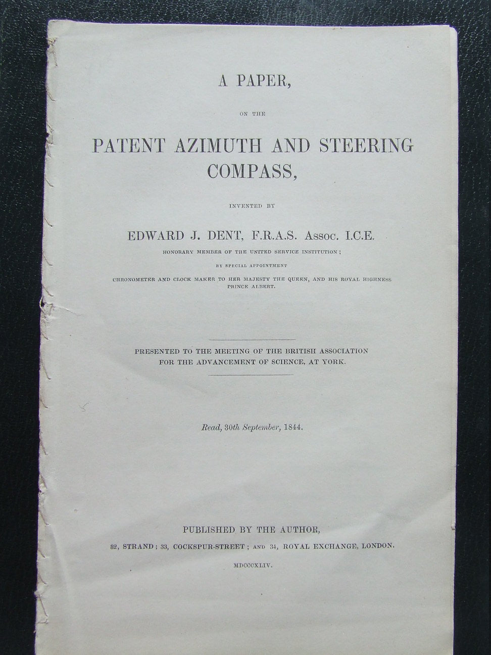 Paper, on the Patent Azimuth and Steering Compass