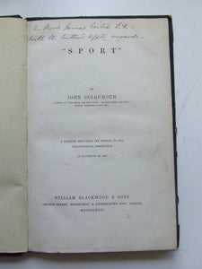 Sport.  a lecture delivered (by desire) to the Philosophical Institution on November 10, 1874
