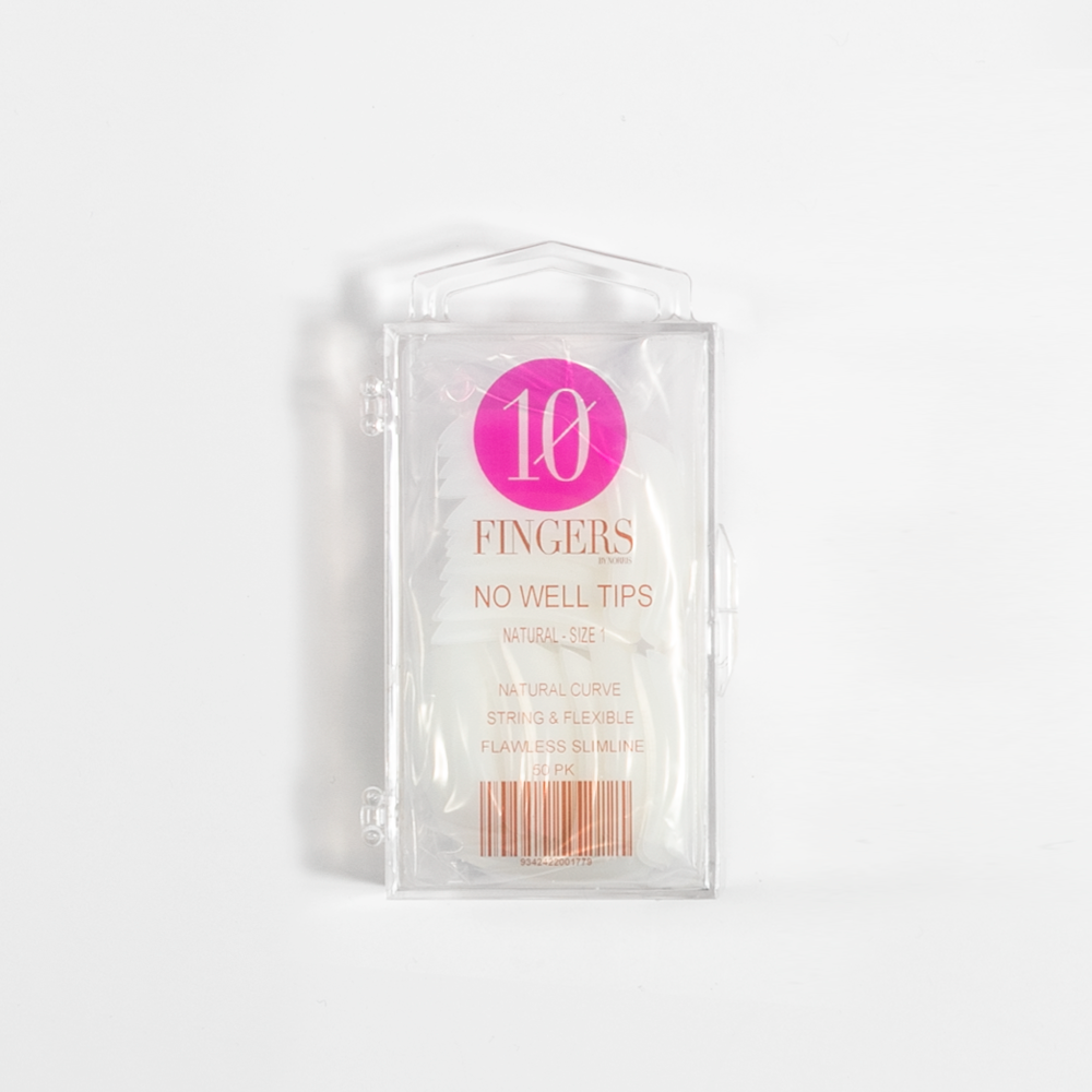 10 Fingers No Well Tips 50pk - Natural - Norris Hair & Beauty