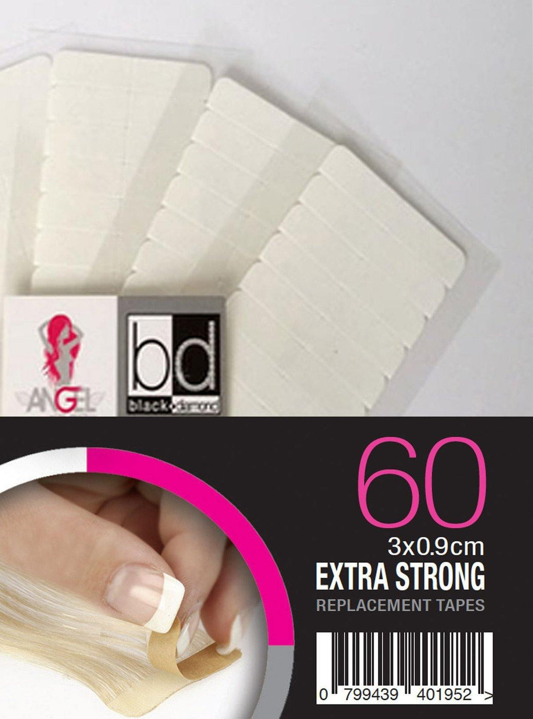 Angel Replacement Tapes Slimline Extra Strong 3x0.9cm 60pk - Norris Hair & Beauty