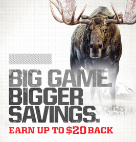 BIG GAME. BIGGER SAVINGS. EARN UP TO $20 BACK ON FOUR DIFFERENT ROUNDS OF WINCHESTER AMMUNITION.
