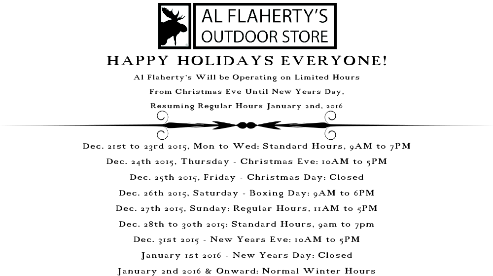 Al Flaherty's Winter Holiday Hours, Christmas to New Years Day