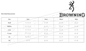 Browning Clothing Size Chart