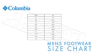 Columbia Clothing Footwear Size Chart