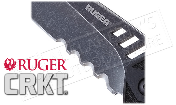 "CRKT - Ruger #R1705K Follow-Through Folder, Modified Drop-Point VEFF Flat Top Serrations 3.75"" Blade"