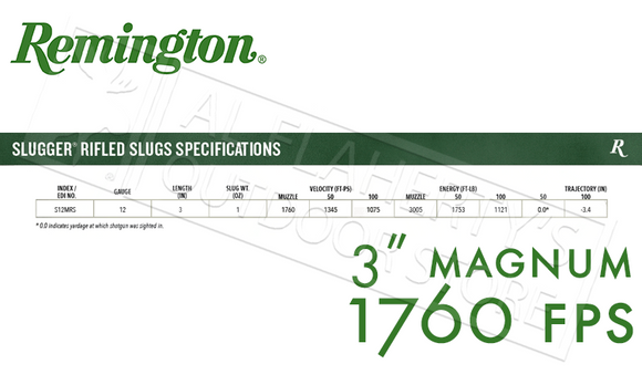 "12 Gauge - Remington Slugger Rifled Slugs, 3"" Magnum 1 oz. Box of 5 #SP12MRS"
