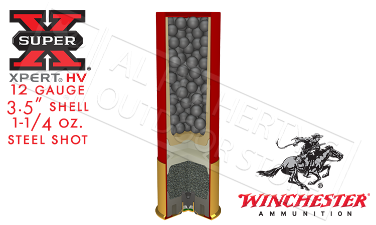 "12 Gauge - Winchester Super-X Xpert High Velocity Waterfowl Shells, 3-1/2"", #BB 1-1/4 oz. 1625fps, Box of 25 #WEX12LM"