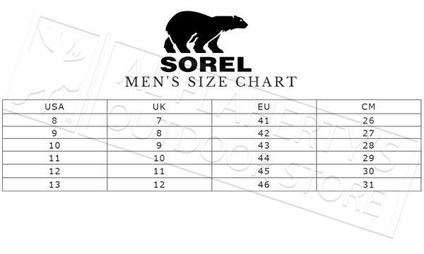 Sorel Footwear Men's Boots Size Chart
