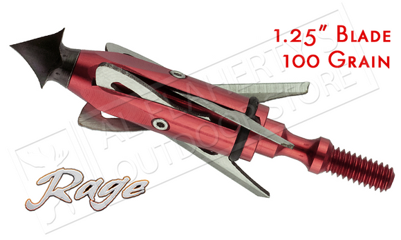 "Rage SlipCam Chisel Tip Mechanical Broadheads, 1.5""+ Cut 100 Grain Pack of 3 #30100"