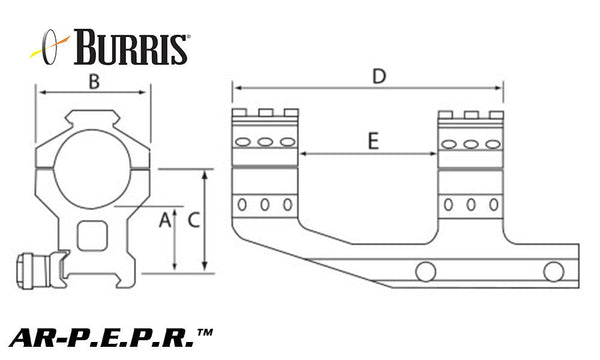 Burris Mount AR-P.E.P.R.  w/Picatinny Top Rings  Diagram