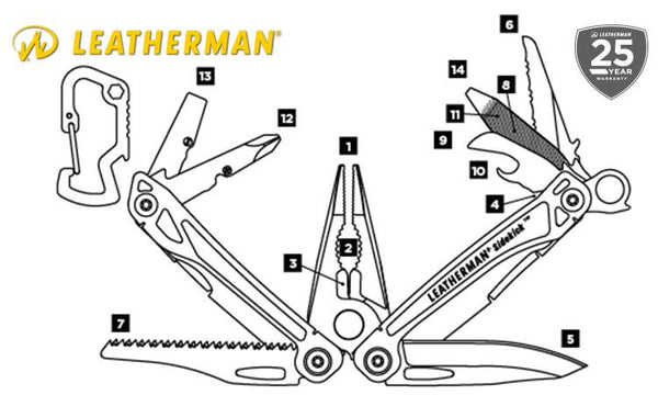 Leatherman Sidekick Multi-Tool, Stainless with Nylon Sheath #831439
